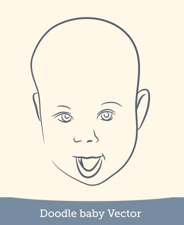 doodle baby smile Illustration