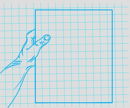 doodle hand holding a piece of paper