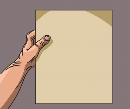 dictate: hand holding a piece of paper