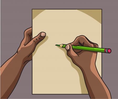 African American hand writes Illustration