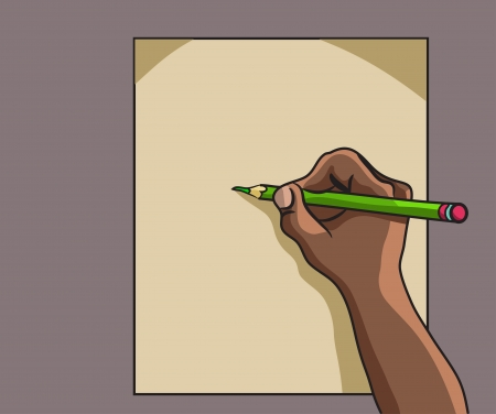 dictate: African American hand writes Illustration