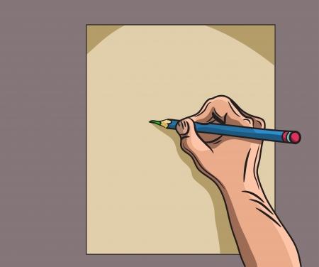 dictate: man hand writes Illustration
