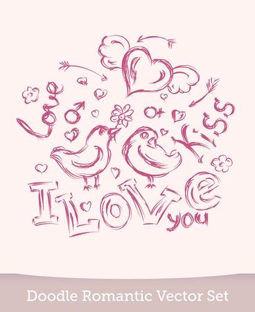 Valentine Day doodle set