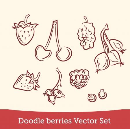 doodle berry set Illustration