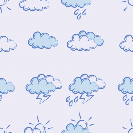 seamless pattern weather doodle set