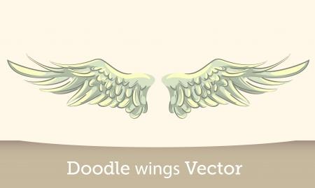 hand drawn wings: Vector Wings