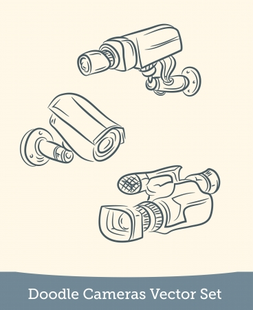 doodle set video Camera Vector
