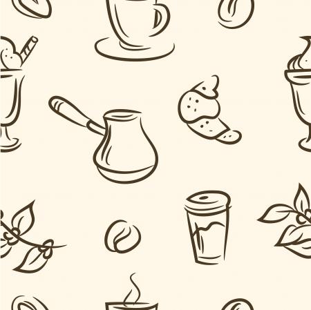 doodle coffee set  Seamless pattern