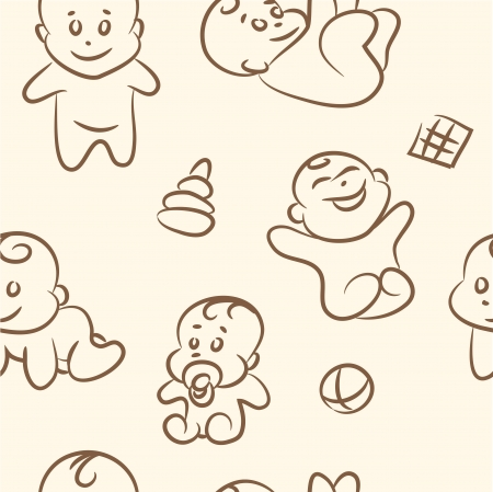 doodle baby set  Seamless pattern Vector