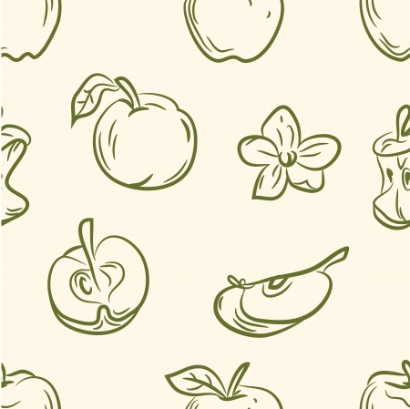 doodle apple set  Seamless pattern Vector