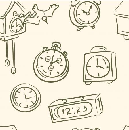 Seamless orologi doodle impostata Archivio Fotografico - 19823338