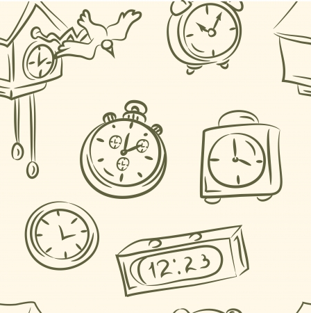 seamless pattern   doodle clocks set Illustration