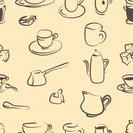 coffee doodle vector set  Seamless pattern Vector