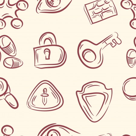 seamless pattern   doodle cable set Vector