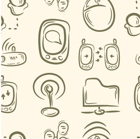 seamless pattern   doodle cable set
