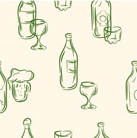 drink menu: doodle drink menu set  Seamless pattern