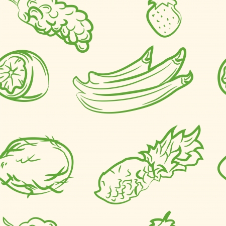 seamless pattern  doodle fruit set Vector