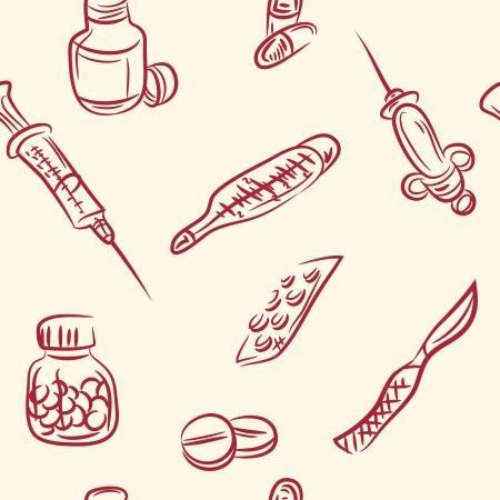 seamless pattern  doodle medical set Vector