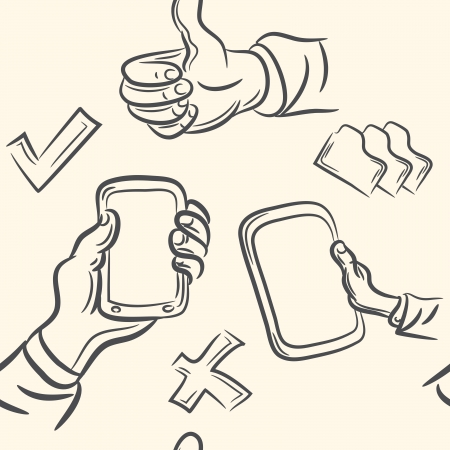seamless pattern  doodle hand holds the device set Vector