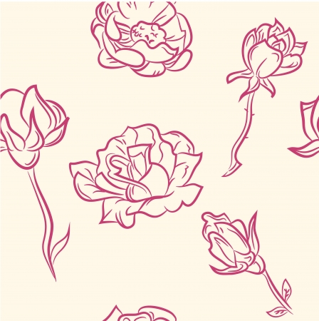 seamless pattern  doodle flower set Vector