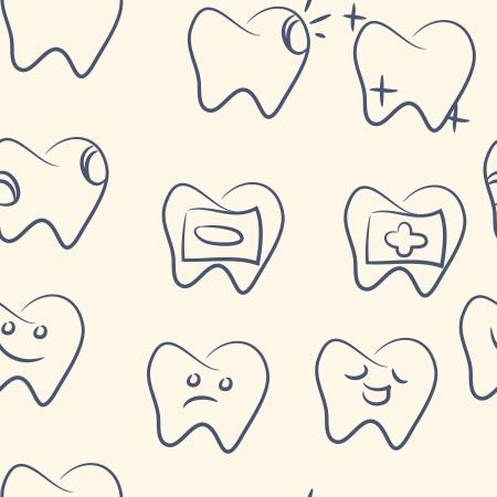 hadron: seamless pattern  doodle teeth set