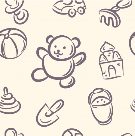 seamless pattern  doodle Toy set Vector