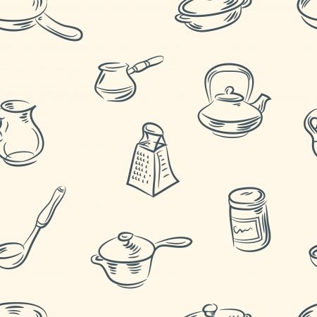 hadron: seamless pattern  doodle kitchen set Illustration