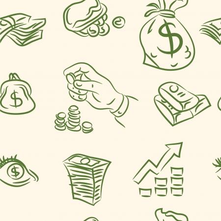seamless pattern  finance doodle set