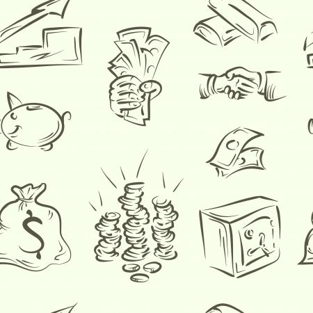 Bag of gold coins: mẫu trang trí liên doodle tài chính tập