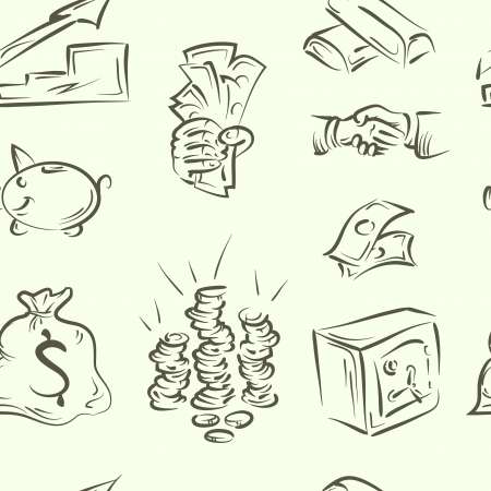 seamless pattern  finance doodle set Vector