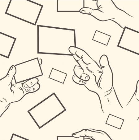 seamless pattern  doodle hand holding a business card set