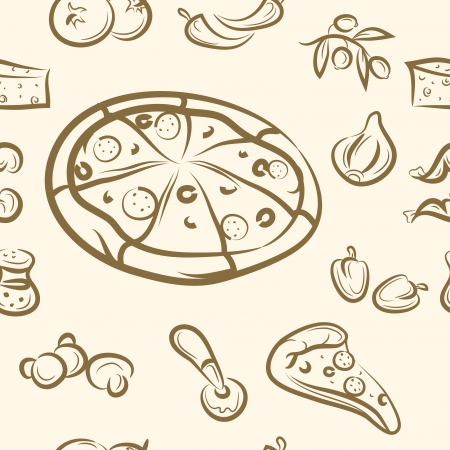 seamless pattern  doodle pizza set Vector