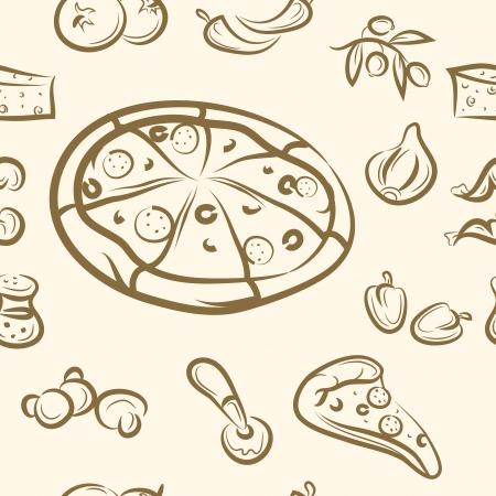 seamless pattern  doodle pizza set
