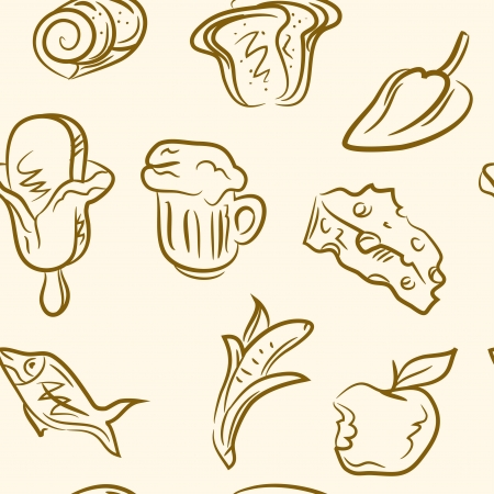 seamless pattern  doodle food set Vector