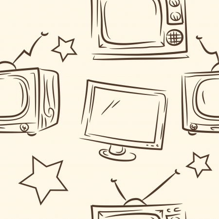 seamless pattern  doodle TV set Vector