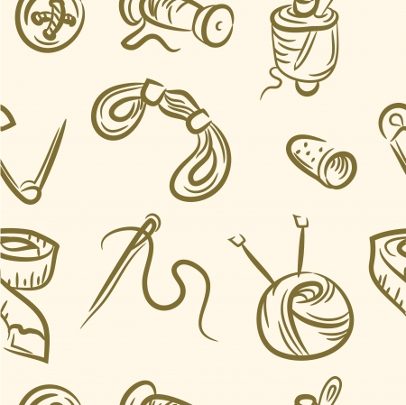 seamless pattern  doodle sewing set