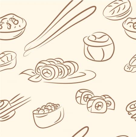 seamless pattern  doodle sushi set Vector