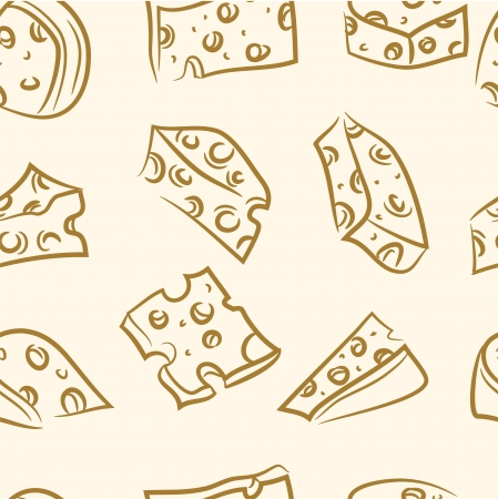 seamless pattern  doodle cheese set Vector