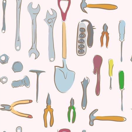 seamless pattern  doodle tools set
