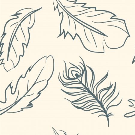 seamless pattern  doodle feather set