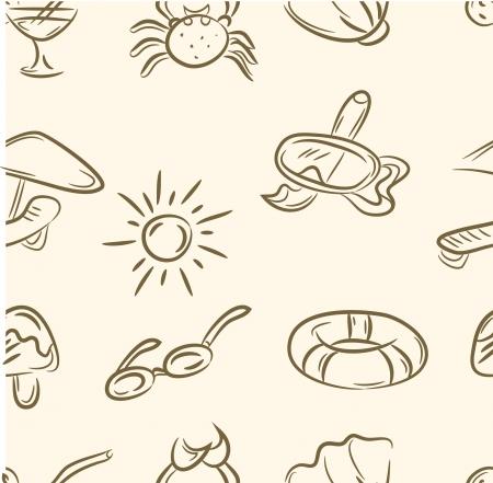 doodle summer set  Seamless pattern Illustration