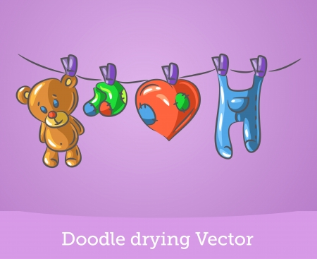 Doodle drying Vector