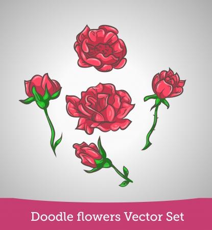 Doodle flower set Vector