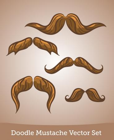 Doodle mustache set Illustration