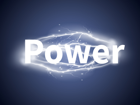 zapping: realistic lightnings with word Power on blue background Illustration