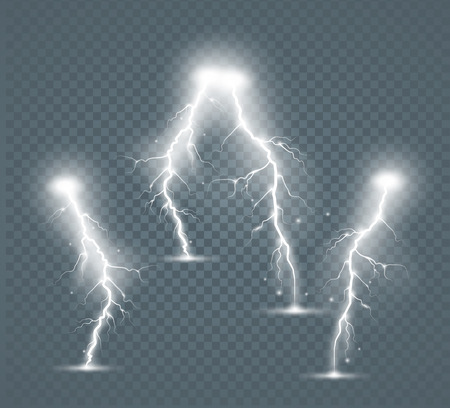 Set of the isolated realistic lightnings with transparency for design. Natural effects Illustration