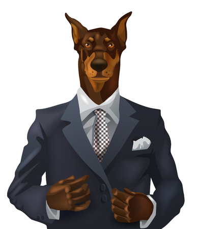 vector man with doberman head dressed up in office suit Illustration