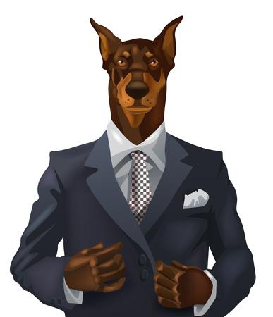 doberman: vector man with doberman head dressed up in office suit Illustration