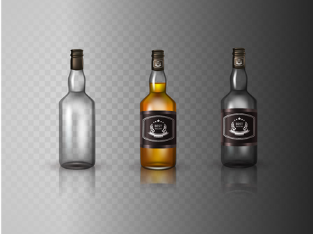 twist cap: Glass brandy , bottle with screw cap, isolated on white background. Vector illustration. Illustration