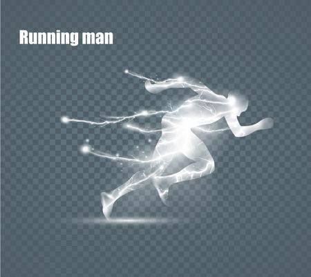 Running Man, un fulmine in volo, illustrazione vettoriale, solated su sfondo nero